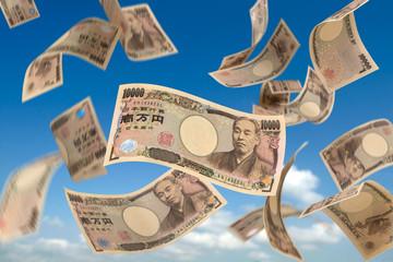一万円札落下