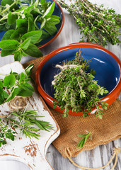 green mediterranean herbs