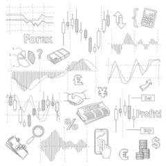 Set of business doodle elements. Forex market hand drawn illustration vector.
