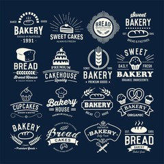 Retro Bakery labels, logos, badges, icons, objects and elements.