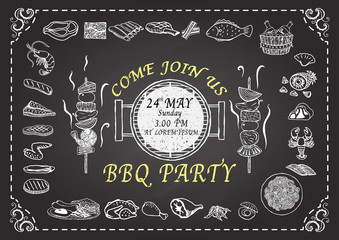 Barbecue party invitation. Hand drawn meats on chalkboard. Restaurant menu design template.