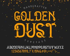 """Vintage decorative handcrafted font named """"Golden dust"""""""