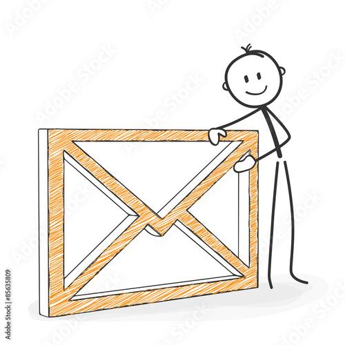 Strichmännchen Mit Briefumschlag Brief Symbol Männchen E Mail