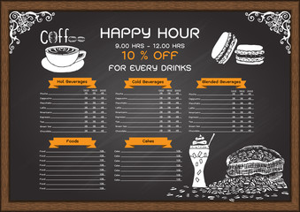 Coffee and bakery menu on chalkboard design template