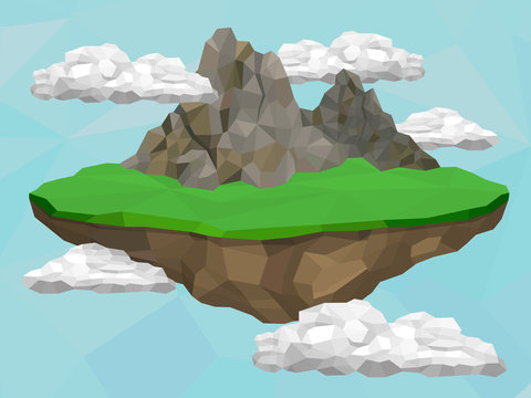 Floating island with mountain and meadow in the sky