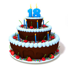 Birthday cake with number eighteen