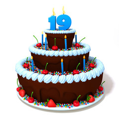 Birthday cake with number nineteen