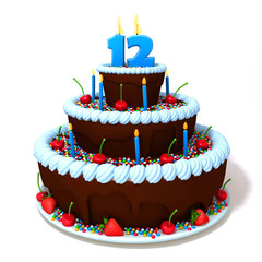 Birthday cake with number twelve