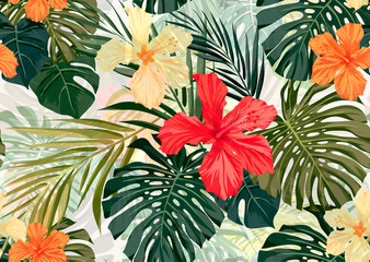 Bright colorful tropical seamless background with leaves and