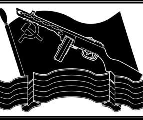 stencil of soviet machine gun and flag. vector illustration