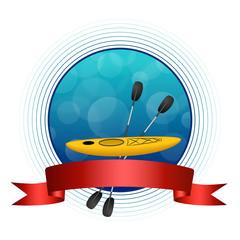 Background blue kayak sport yellow circle red ribbon frame circle