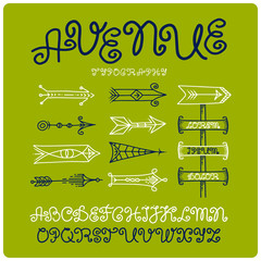 Curvy vintage font with stylish arrows on green background