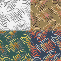 Set of abstract vector seamless pattern