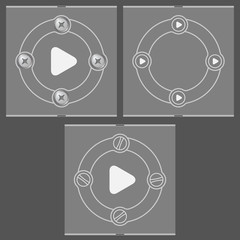 Set of three flat frames and play icon
