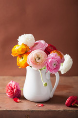 Fototapete - beautiful ranunculus flowers in vase