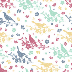 Wall Mural - Birds and twigs seamless pattern