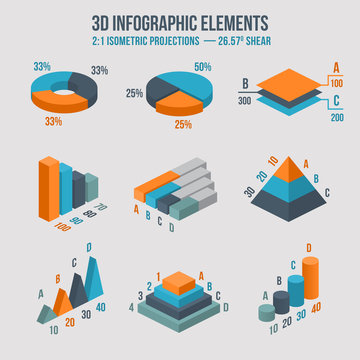 Isometric 3d vector sign. Pie and donut chart, layers graphs