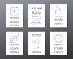 Wall Mural - Cards with text and geometric shapes for invitations or banners