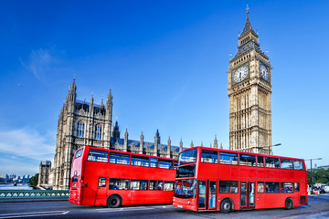 Photo on textile frame London red bus Big Ben with buses in London, England