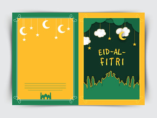 Creative greeting card with mosque for Eid.
