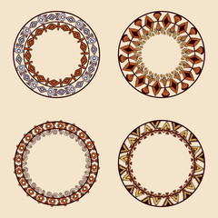 Collection of round elements for design in ethnic style