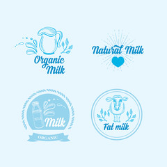 Natural milk with splashes, icons design. Healthy product.
