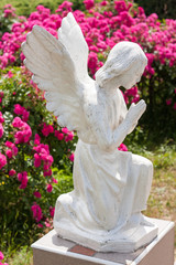 Tranquil Scene of Woman angel statue at the blurred background.