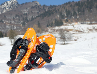 two orange snowshoes in mountains in winter