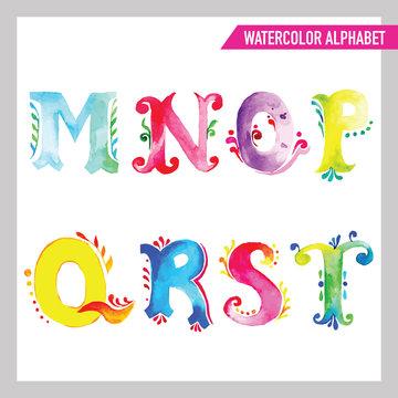 Watercolor Alphabet. Watercolor Font. ABC Painted Letters M-T