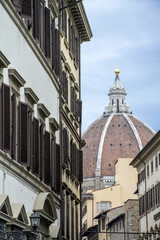 The street with the cathedral in the heart of Florence