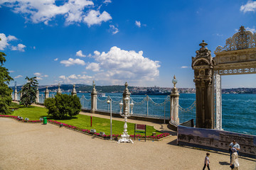 Istanbul, Turkey. Fences and East Gate Dolmabahce Palace on the shores of the Bosphorus