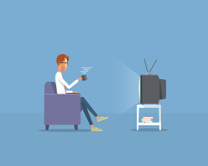 business man watching television concept