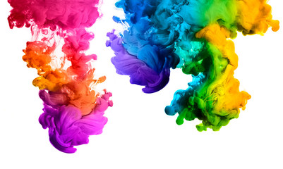 Rainbow of Acrylic Ink in Water. Color Explosion Wall mural