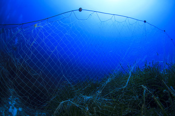 Abandoned fishing net underwater causes environmental damage