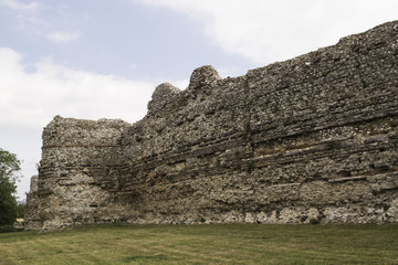 Outside curtain wall, Pevensey Castle