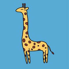 Cute giraffe on blue background