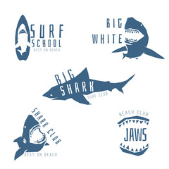 Shark vector logo concept for surf or beach club, isolated on