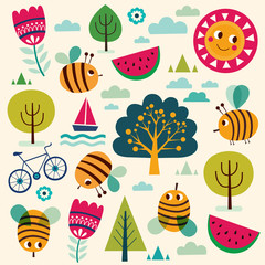 Summer vector pattern with bees