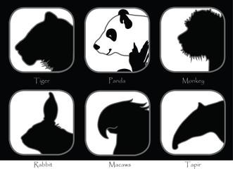 Tiger Monkey Panda Tapir Macaws Rabbit Black and white