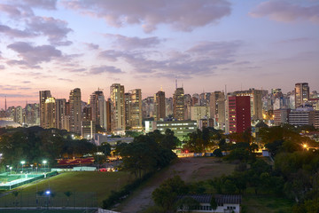 Sao Paulo city at nightfall, Brazil