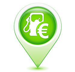 prix des carburants sur marqueur géolocalisation vert