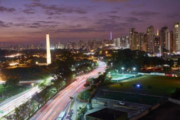 Sao Paulo city at night, building in ibirapuera Brazil
