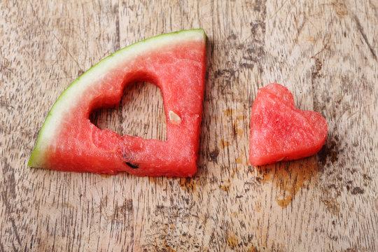 pieces of heart shape watermelon