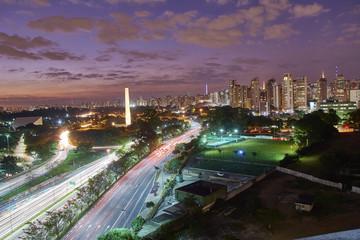 Ibirapuera Sao Paulo city at nightfall, Brazil