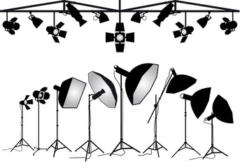 Photography lighting equipment, vector set