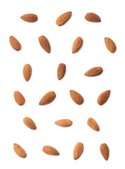 Set of multiple almond seed images