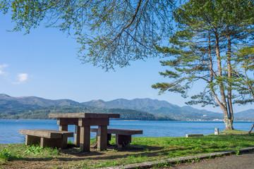 Bench of the Lake Yamanaka side
