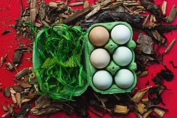 Eggs on red background still life. Blue eggs are from araucana chickens.
