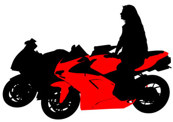 Wall Mural - Silhouettes of motorcycl and baeuty women on whit background