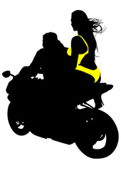 Fototapete - Silhouettes of motorcycl and baeuty women on whit background